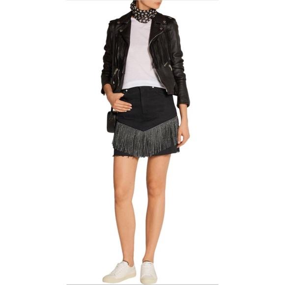 c2c19d6fdec Saint Laurent Skirts | Studded Fringe Denim Mini Skirt | Poshmark